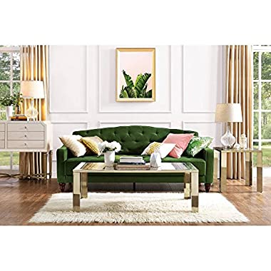 Elegant 3 Easy-to-convert Positions Vintage Tufted Sofa Sleeper II, Green Velour