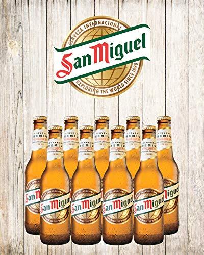 Plaque en métal San Miguel avec bière, espagnole espagnole, Benidorm, vacances, 1572, petite taille 19 cm x 14 cm