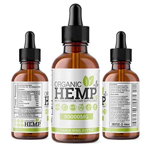 Organic Hemp Oil Plus+ Drops – High Strength Supplement to Help Support Anxiety, Stress, Improved Sleep & More | 50,000MG MAX Strength 50ML Bottle
