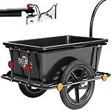Deuba Rimorchio per bicicletta vasca in plastica rimovibile 90 L carrello per bici trasporto oggetti 80Kg