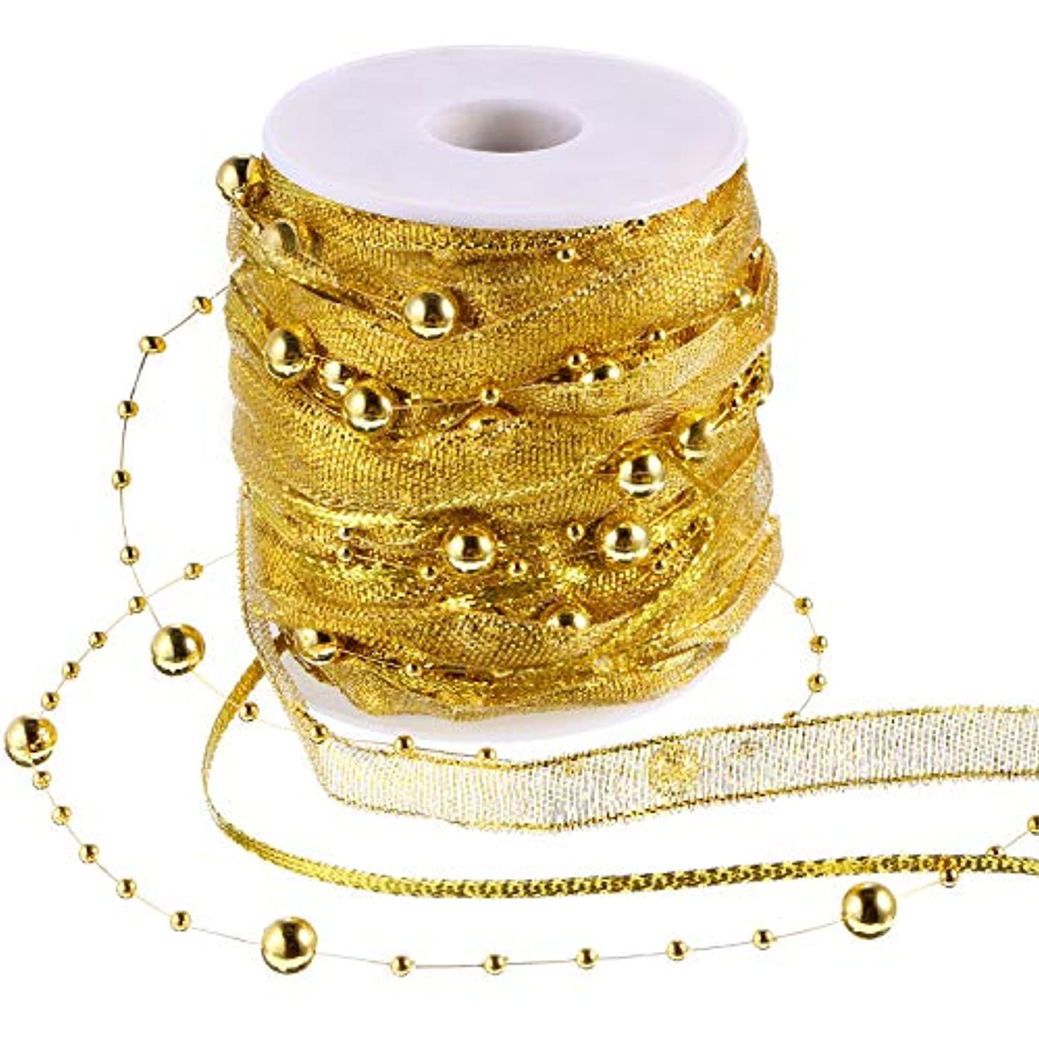 Pangda 65.6 Feet 3 Strands Christmas Bead Ribbon Garland Pearl Chiffon Satin Ribbon Organza Ribbon for Christmas Tree Wedding Flower Decoration (Gold)