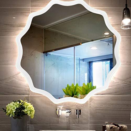DCJLH Espejo baño Pared Baño LED Espejo con Forma de Luces Irregular Espejo de Maquillaje Iluminado, con luz Blanca y luz Caliente (Color : White Light, Size : 70cm)