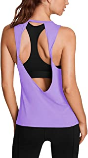 Bestisun Women's Workout Tank Tops Yoga Outfits Open Back Muscle Shirts Cute Activewear Racerback Tank Top