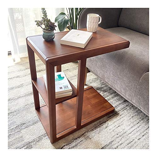 BUYT Portable End Table Tray Table for Bed or Chair , Industrial End Table with Castors Solid Wood Sofa Side Table C Table Laptop Table Mobile Snack Coffee Tray Vintage Accent Furniture