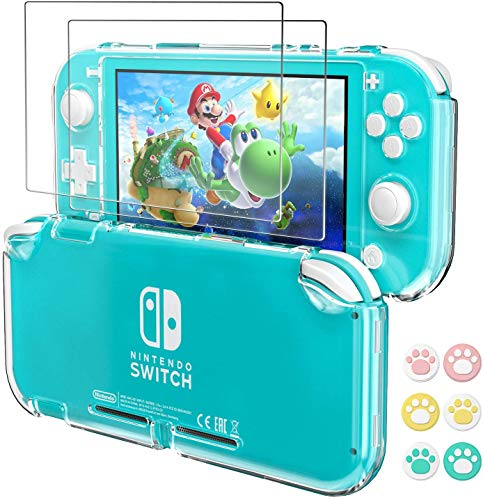 Hestia Goods Clear Case Compatible with Nintendo Switch Lite Protective , with 2-Pack Switch Lite Tempered Screen Protector and 6 Pcs Cult Thumb Grips,HD Clear