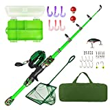 Lanaak Kids Fishing Pole - Green Camo - Kids Fishing Pole for Boys, Girls and Youth