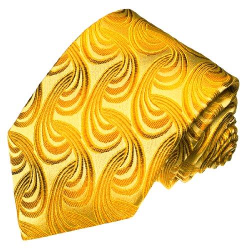 Lorenzo Cana - Krawatte aus 100% Seide - Markenqualität handgefertigt in italienischer Tradition - Gold Gelb Paisley - 84329