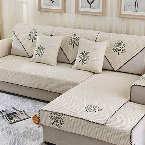 Jonist Funda de Lino para sofá, Jacquard Simple y Elegante para Sala de Estar, Funda Antideslizante para Muebles, Shield-D-70X240cm