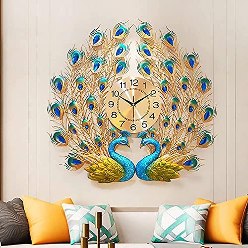 WEUN Reloj de Pared de Pavo Real, Reloj de Cuarzo Creativo, decoración de Pared Europea para el hogar, Personalidad Creativa, Arte Hecho a Mano, Regalo de Fiesta Simple