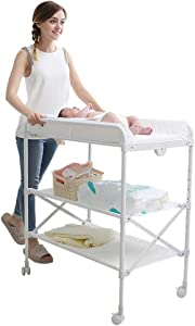 Baby Changing Table Foldable with Safety Straps and Lockable Wheels  Save Space Infant Diaper Station  Nursery Organizer for 0-4 Years Old Newborn  White