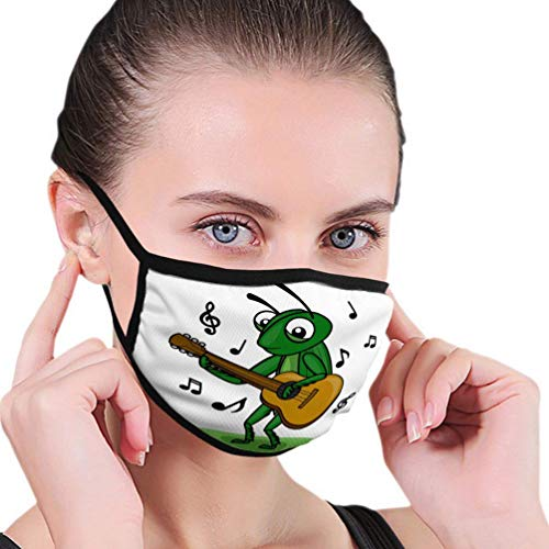 Herbruikbare Ski Fietsen Gezichtsmasker Mond Mask Cricket Muziek Gitaar Grasshopper spelen Retro