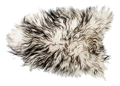 ESTRO | Authentique Tapis en Peau ou en Fourrure de Mouton ISLANDAIS | Brillant et Luxueux | Variété de Couleur ESI (Zèbre, 130 cm)