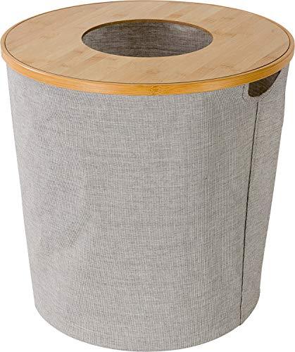 Möve Wäschekorb mit Deckel, Holz, Ø 45 x 45 cm