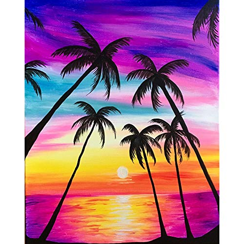 DIY 5D Diamond Painting by Number Kit,Crystal Rhinestone Diamond Embroidery Paintings Cross Stitch for Home Wall Decor Rainbow Coconut Tree,11.8 x 15.7 inch