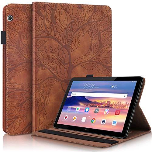 Ailisi Funda para Huawei MediaPad T3 10 (9.6 Pulgadas), Elegante Diseño de Árbol de la Vida en Relieve Carcasa Cover Protectora de Cuero con Soporte, Ranuras para Tarjetas -Marrón
