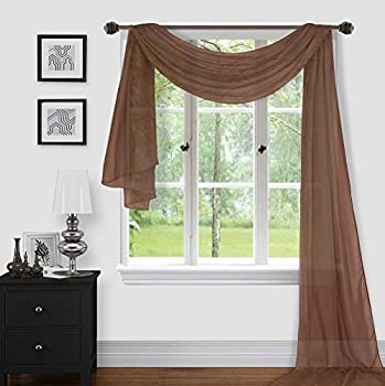 Sapphire Home 1pc Window Sheer Voile Scarf Valance Decorative Sheer Valance for Window Home Decor Solid Color Valance  37 x216   Brown/Coffee