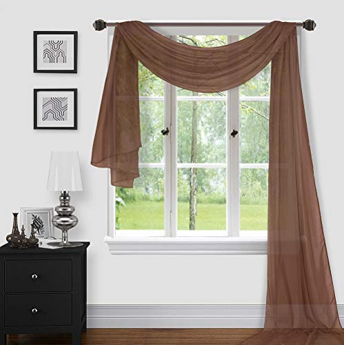 """Sapphire Home 1pc Window Sheer Voile Scarf Valance, Decorative Sheer Valance for Window Home Decor, Solid Color, Valance (54""""x216"""") Brown/Coffee"""