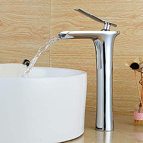 YASEking Productos de baño de la Cascada de una manija Un Toque/Latón de Plata Moderna del Hotel baño Grifo del Fregadero Simple y práctico