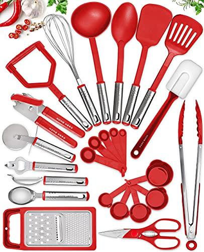 Home Hero Kitchen Utensil Set - Nylon Cooking Utensils - Kitchen Utensils with Spatula - Kitchen Gadgets Cookware Set - Kitchen Tool Set (25 Piece, Red)