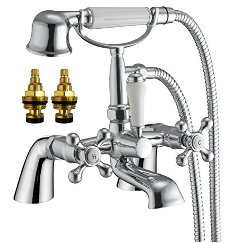 Traditional Cross Handles Bath Filler Tap + Shower (Cambridge 4) by Grand Taps