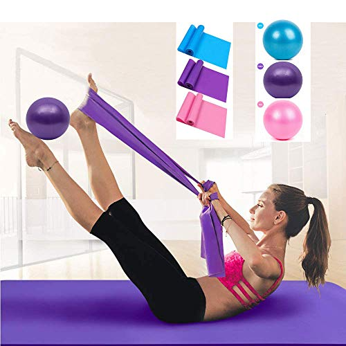Resistance Band & Exercise Ball for Barre,Yoga,Pilates,Stability Exercise Training,Deep Tissue Massage, Core Training and Physical Therapy(Purple)