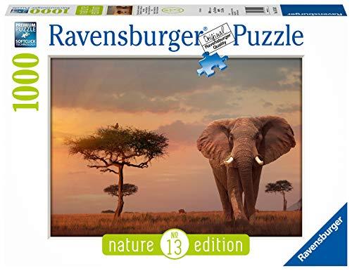 Ravensburger Nature Edition, 13, Puzzle 1000 pezzi, Paesaggi e Natura, Puzzle per Adulti, Fotografia, Elefante del Masai Mara, Africa