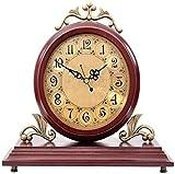 YONGJUN Famiglia Orologio da parete in stile europeo Orologio da tavolo in legno muto per la decorazione Soggiorno Comodino Adatto Ufficio Stanza Mensola Orologi (Colore: Arancione)