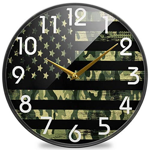 Naanle Camouflage American Round Wall Clock, 9.5 Inch Silent Battery Operated Quartz Analog Quiet Desk Clock for Home,Office,School