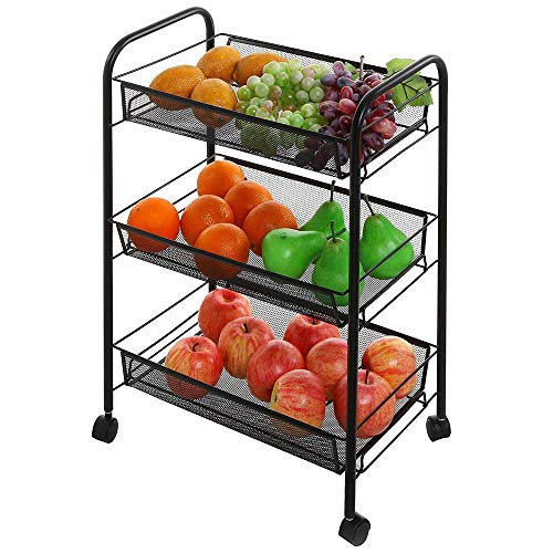 Binlin Storage Cart, Space-Saving Honeycomb Mesh Style Removable Storage Cart Silver, Standing Shelf Rack Units with Wheels for Kitchen/Bathroom/Office (3-Shelf)