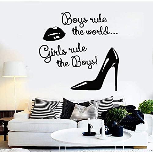 Aplique De Vinilo Para Pared Mujer Labios Zapatos Regla Pegatinas Decorativas Salón...