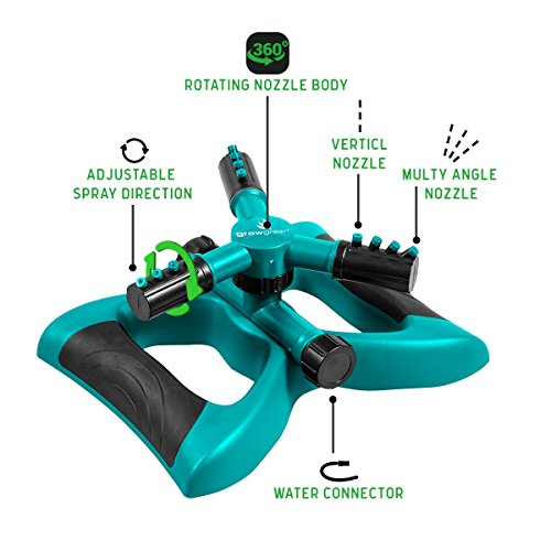 GrowGreen Sprinkler, Rotating Lawn Sprinkler, Large Area Coverage Water Sprinklers for Lawns and Gardens