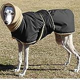 FZH Ropa para Perros Gruesa y súper cálida, Chaqueta Impermeable para Perros, para Perros medianos y Grandes, Ropa de Pastor de Galgo Lobero-Negro_4XL