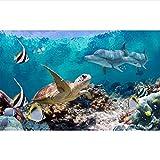 Qwerlp Benutzerdefinierte 3D Fototapete Wohnzimmer Wandbild Unterwasserwelt Schildkröte Bild Sofa Tv Hintergrund Vliestapete Für Wand 3D-120X100Cm