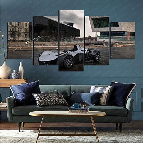 mmkow Lienzo decorativo para pared de 5 piezas de coche BAC mono pintura lienzo decoración del hogar 50 x 100 cm (enmarcado)