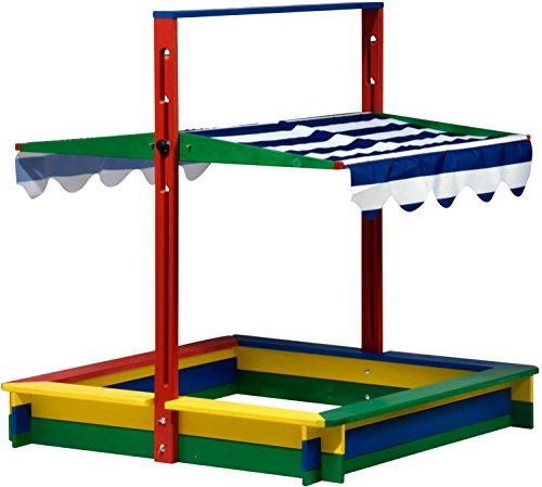 dobar 94356FSC – Caja de Arena de Madera con Tapa, con Techo de Cierre Especial, Caja de Arena Grande XL Cuadrada con Tapa, 120 x 120 x 120 cm, Madera FSC, Multicolor