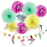 Easy Joy Decoración de Verano, Abanico Pompom Papel Banner Flamencos para Fiesta de Cumpleaños Aniversario, 11 Piezas