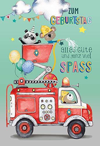 KE - Geburtstagskarte für Jungen Feuerwehr mit GLITZER - Geburtstagskarte Kinder - Kindergeburtstag - DIN B6 - Klappkarte inkl. Umschlag