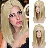 DIFEI 14 inches Natural Blonde or Vanilla Bob Wig Sleek Blunt Shoulder Length Haircut Bob Wigs for Women (Blonde)