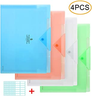 Expanding File Folder, 5 Pocket Accordion File Organizer A4 Letter Size with 168pcs File Folder Lable for School Office Business Use Blue/Green/Pink/Transparent(4 Pack)