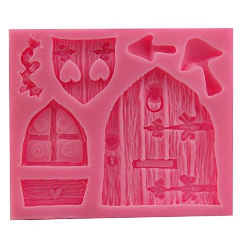 Vintage Cabine Porte Fenêtre Coque en silicone Fondant Moule à Cake Décoration Outil de cuisson – Rose rose