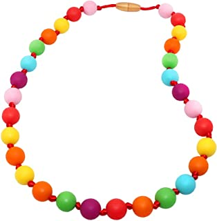 Sensory Oral Motor Aide Chew Necklace for Kids Adults Boys and Girls – Silicone Chewing Beads Jewelry for Autism, ADHD, Biting and Teething Toddlers (Rainbow)