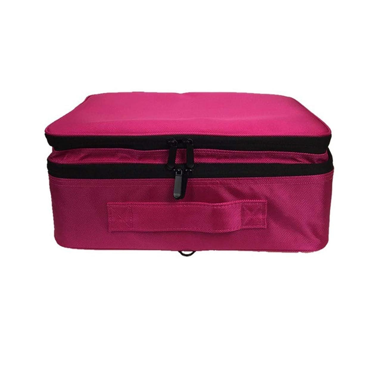 エゴマニア許す安全性化粧オーガナイザーバッグ 調整可能な仕切り付き防水メイクアップバッグ旅行化粧ケースブラシホルダー 化粧品ケース (色 : 赤)