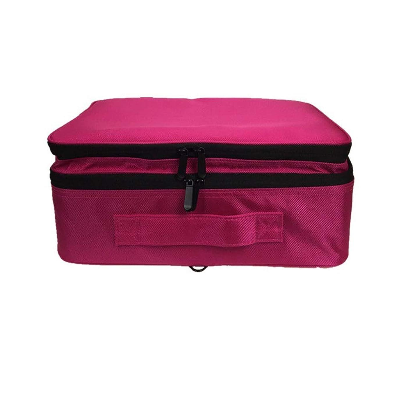 醜いフィードバック海軍化粧オーガナイザーバッグ 調整可能な仕切り付き防水メイクアップバッグ旅行化粧ケースブラシホルダー 化粧品ケース (色 : 赤)