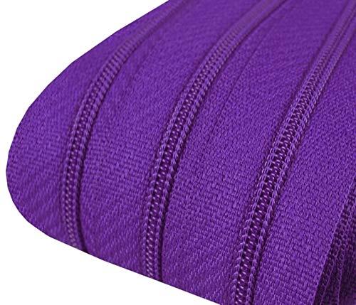landfreude 5m Reißverschluss endlos 3mm spiralförmig + 15 Zipper #170 violett(0,59€/m)