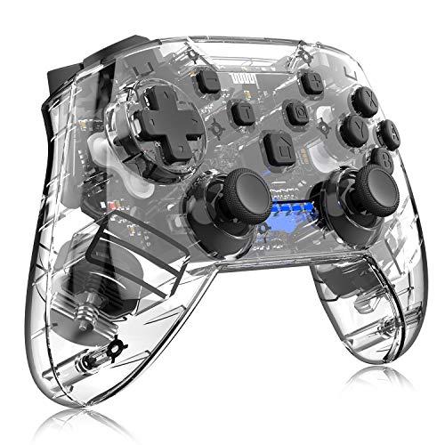 momen Wireless Controller für Nintendo Switch, Bluetooth Wireless Pro Controller mit Wiederaufladbarer Akku, Pro Controller Switch Kontroller mit Dual Shock und Turbo Funktion, Transparent Schwarz