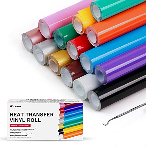 YRYM HTV Heat Transfer Vinyl Bundle :14 Pack 12' x 3 Feet Heat Transfer Vinyl Roll with 14 Popular Colors HTV Roll