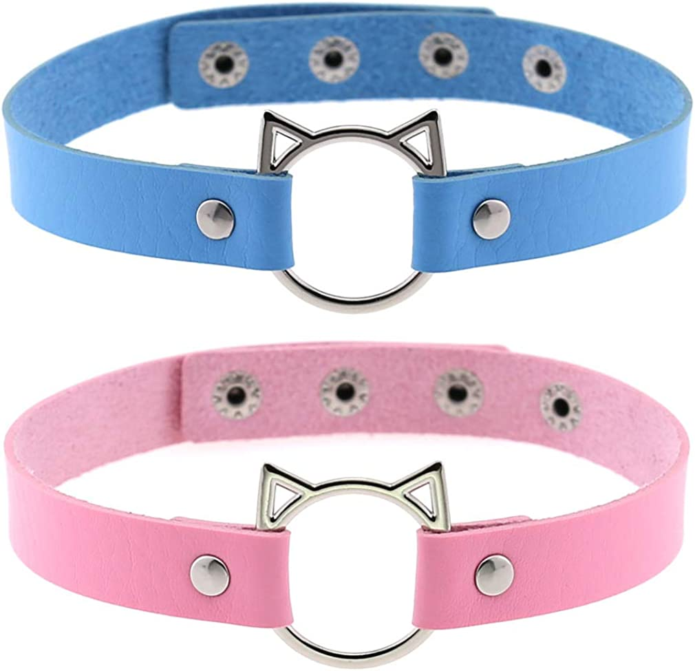 FM FM42 Multicolor PU Simulated Leather Cat O Ring Collar Choker Necklace 17.32
