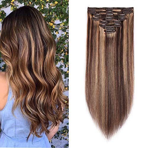 Double Weft 100% Remy Human Hair Clip in Extensions Highlight 14''-22'' Grade 7A Quality Full Head Thick Long Soft Silky Straight 8pcs 18clips (16' / 16 inch 130g,#4/27 Medium brown/Dark Blonde)
