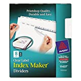Avery 11437 Print/Apply Clear Label Dividers, 8-Tab, 8.5 x 11, White, 5 Sets/PK