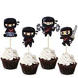 Unimall Ninja Cupcake Toppers Ninja Warrior Cake Picks para niños temática ninja fiesta de cumpleaños, decoración de pasteles para baby shower 24 unidades